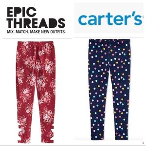 NEW Bundle (2) CARTER's & EPIC THEAD Girl LEGGINGS